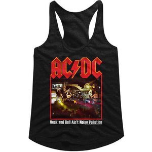 AC/DC Ladies Racerback Tanktop Rock & Roll Ain't Pollution Poster Black Tank
