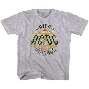 AC/DC Kids T-Shirt High Voltage Logo Grey Heather Tee