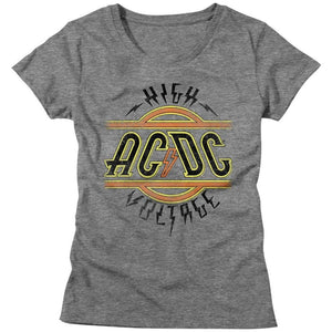 AC/DC Ladies T-Shirt High Voltage Logo Grey Heather Tee