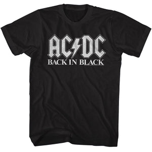 AC/DC Tall T-Shirt Back In Black White Logo Tee