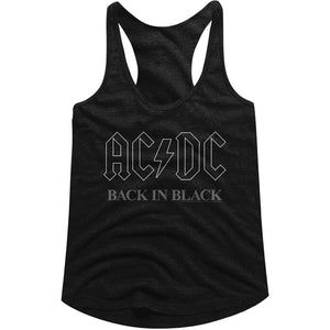 AC/DC Ladies Racerback Tanktop Back In Black Logo Outline Tank