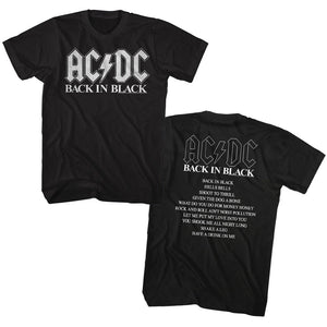 AC/DC T-Shirt Back In Black Album Top Songs Tee