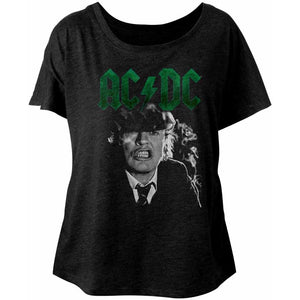 AC/DC Ladies Dolman T-Shirt Angus Growl Green Logo Black Tee