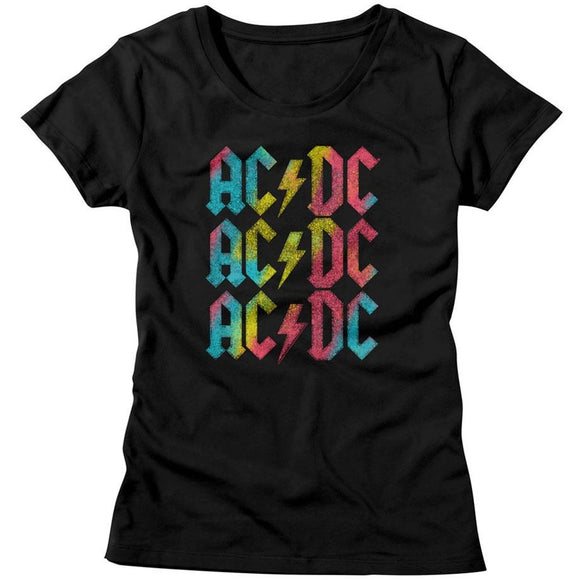 AC/DC Ladies T-Shirt Multicolor Logo Black Tee