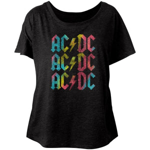 AC/DC Ladies Dolman T-Shirt Multicolor Logo Black Tee