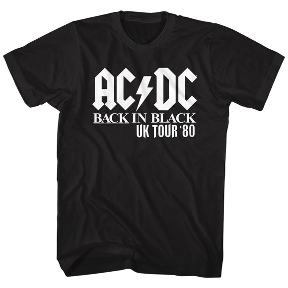 AC/DC T-Shirt UK Tour Solid White Font Black Tee