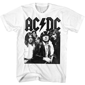 AC/DC T-Shirt Highway To Hell Group Portrait White Tee