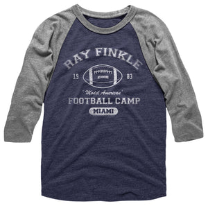 Ace Ventura T-Shirt Ray Finkle Football Camp 3/4 Sleeve Raglan Navy/Gray Tee