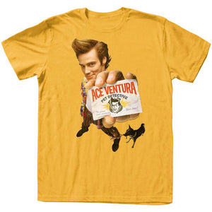 Ace Ventura T-Shirt Pet Detective Distressed ID Gold Tee