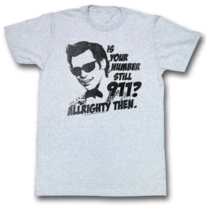 Ace Ventura T-Shirt Pet Detective Is Your Number Still 911? Gray Tee