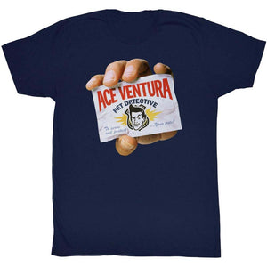 Ace Ventura T-Shirt Pet Detective Hand Showing Card Navy Tee