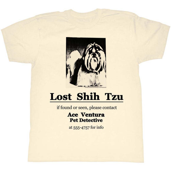Ace Ventura T-Shirt Pet Detective Lost Shih Tzu Natural Tee