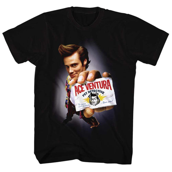 Ace Ventura Tall T-Shirt Pet Detective Spotlight Black Tee