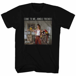 Ace Ventura Tall T-Shirt Pet Detective Come To Me Jungle Friends Black Tee