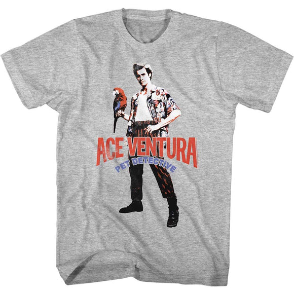 Ace Ventura Tall T-Shirt Pet Detective Pose Wtih Macaw Gray Tee
