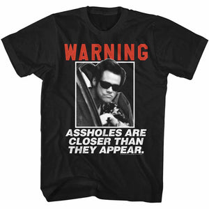 Ace Ventura T-Shirt Pet Detective Warning Aholes Are Close Black Tee