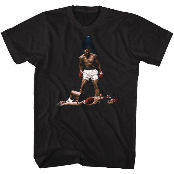 Muhammad Ali T-Shirt Standing Over Liston Color Black Tee