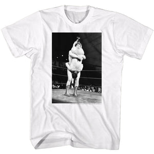 Andre The Giant T-Shirt Tombstone Piledriver White Tee