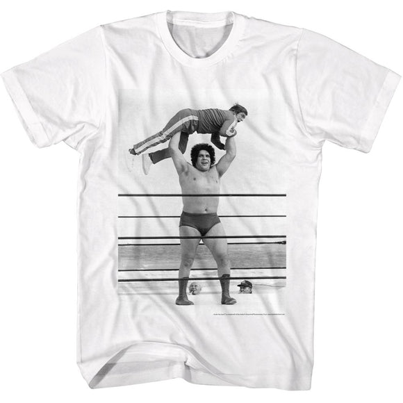 Andre The Giant T-Shirt Picking Up Guy In Ring White Tee