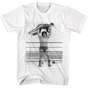 Andre The Giant Tall T-Shirt Picking Up Guy In Ring White Tee