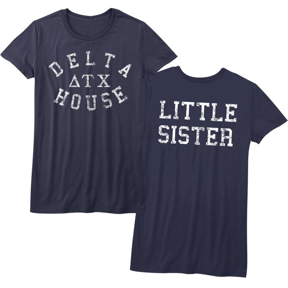 Animal House Juniors T-Shirt Delta House Little Sister Navy Tee