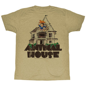 Animal House T-Shirt Delta House Flag Flyer Khaki Heather Tee