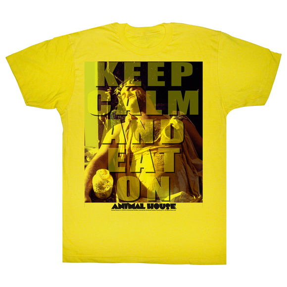 Animal House T-Shirt Keep Calm And Eat On Yellow Tee Sm