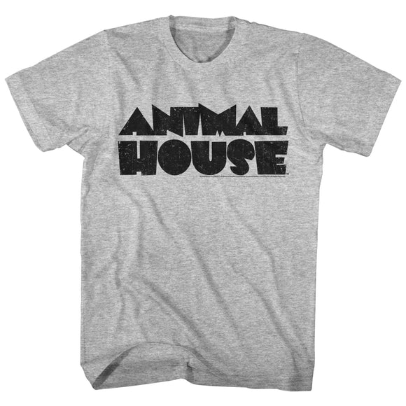 Animal House Tall T-Shirt Distressed Black Logo Gray Heather Tee