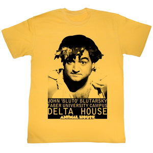 Animal House T-Shirt John Bluto Bultarsky Faber University Gold Tee Sm