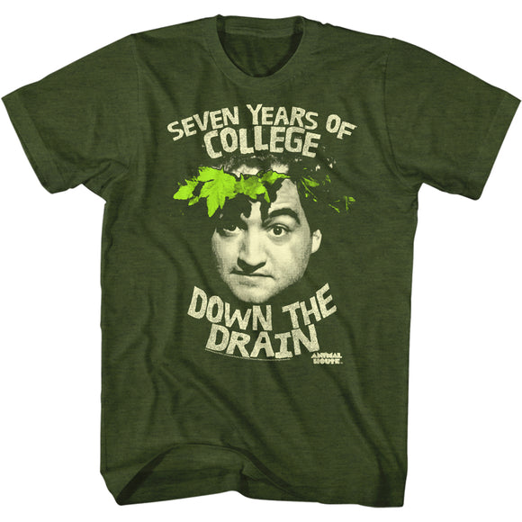 Animal House T-Shirt College Down The Drain Green Tee