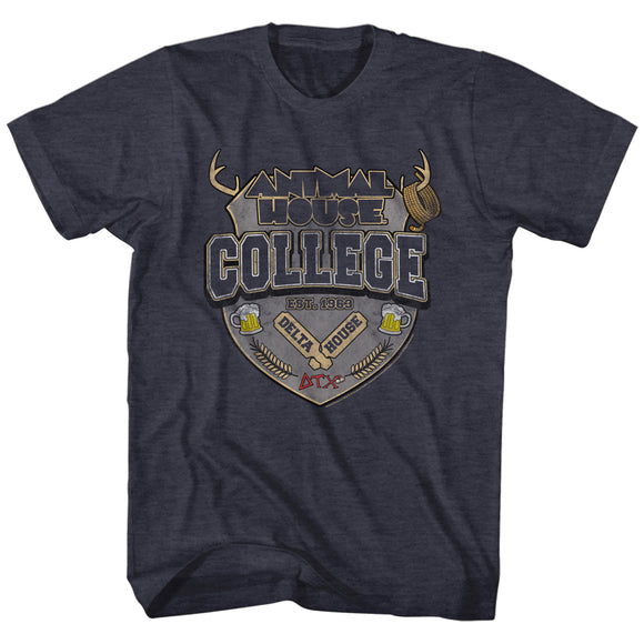 Animal House T-Shirt College Crest Est. 1963 Navy Heather Tee