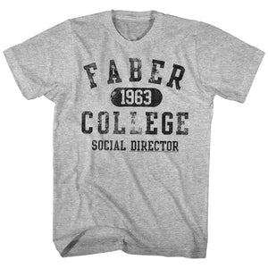 Animal House Tall T-Shirt Social Director Faber College Gray Heather Tee