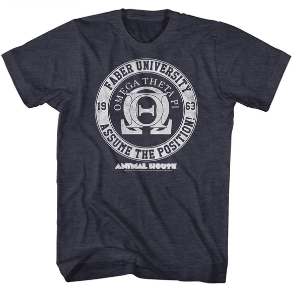 Animal House T-Shirt Faber University Assume The Position Navy Heather Tee