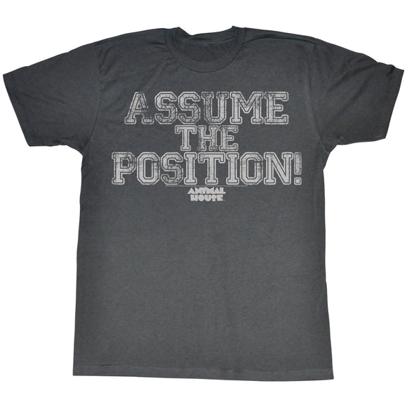 Animal House Tall T-Shirt Assume The Position Black Heather Tee