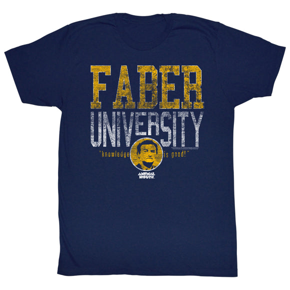 Animal House Tall T-Shirt Distressed Faber University Navy Tee