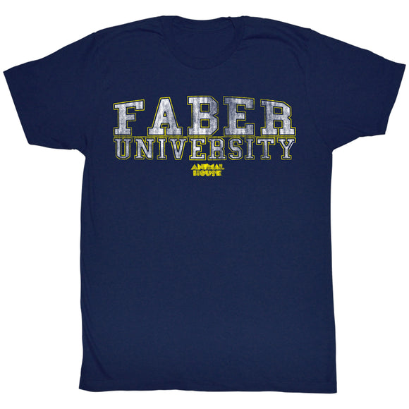 Animal House Tall T-Shirt Distressed Faber University Text Navy Tee