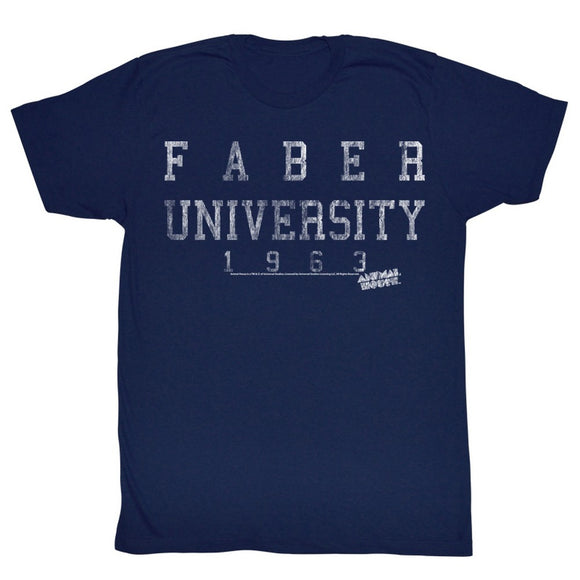 Animal House Tall T-Shirt Faber University 1963 Navy Tee
