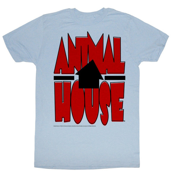 Animal House T-Shirt Red Bold Letters Light Blue Heather Tee, Small