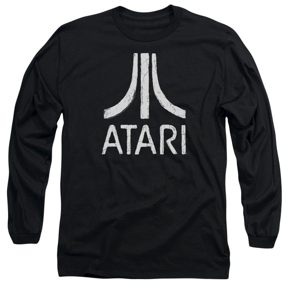 Atari Long Sleeve T-Shirt Distressed White Logo Black Tee