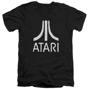 Atari Slim Fit V-Neck T-Shirt Distressed White Logo Black Tee