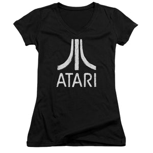 Atari Juniors V-Neck T-Shirt Distressed White Logo Black Tee