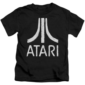 Atari Boys T-Shirt Distressed White Logo Black Tee