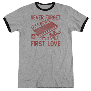 Atari Ringer T-Shirt Never Forget Your First Love Heather Tee
