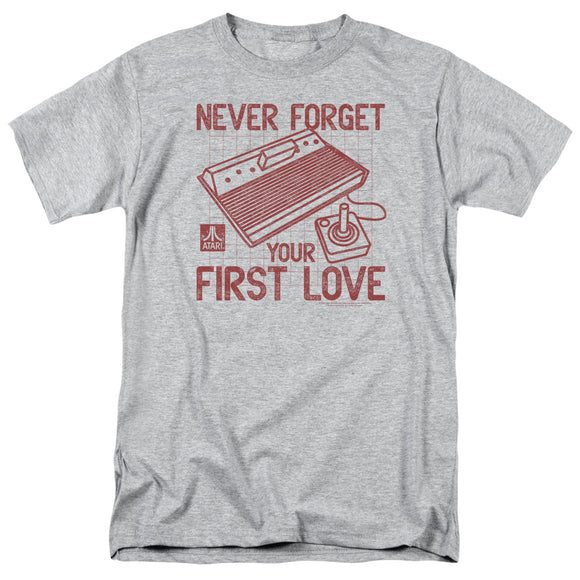 Atari Mens T-Shirt Never Forget Your First Love Heather Tee