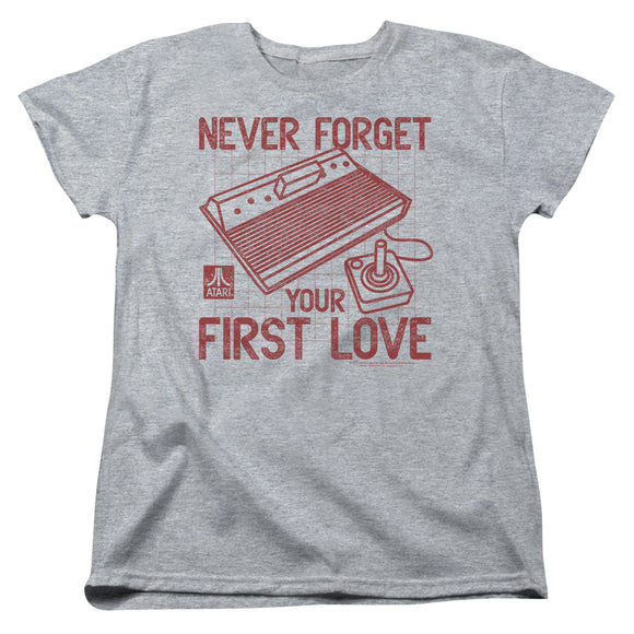 Atari Womens T-Shirt Never Forget Your First Love Heather Tee