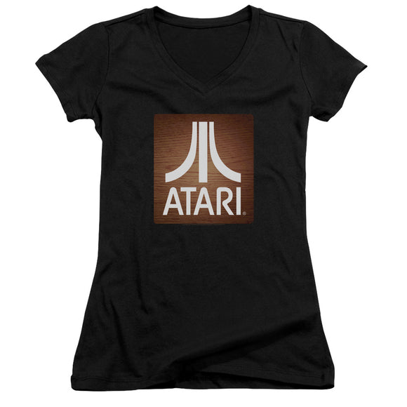 Atari Juniors V-Neck T-Shirt Classic Wood Square Black Tee