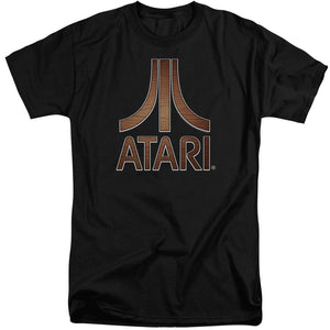 Atari Tall T-Shirt Classic Wood Emblem Logo Black Tee