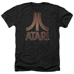 Atari Heather T-Shirt Classic Wood Emblem Logo Black Tee