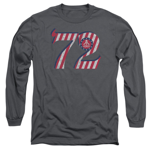 Atari Long Sleeve T-Shirt '72 Red White Retro Logo Charcoal Tee