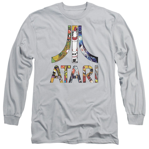 Atari Long Sleeve T-Shirt Inset Art Logo Silver Tee